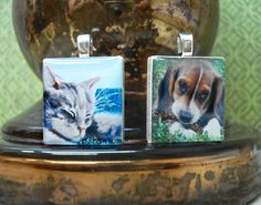 """Scrabble tile pendants from our two sets """"Watercolor Cats"""" and """"Dogs Collection"""" - Mango and Lime Design"""