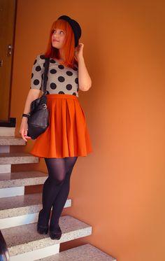 Orange skirt, dotted top