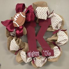 Maroon & White Aggie Football Wreath