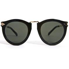 Karen Walker Eyewear Harvest- Black ❤ liked on Polyvore