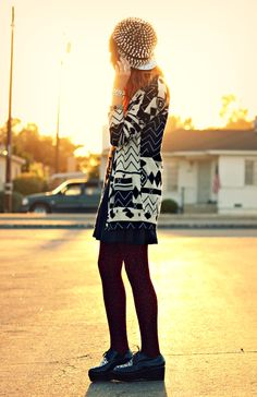 Kendall from Galore, Beneath the Stars in our tribal cardigan. http://www.gsom.com/blog/view/galore-beneath-the-stars-patterns-to-patterns