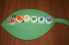 Caterpillar made from bottle caps.