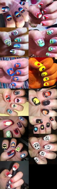 """Nerd nails // Really well done with regards to the artwork, but the thought that initially popped up was, """"She really should have cleaned up her edges before taking the pictures. That just looks sloppy."""" 8S"""