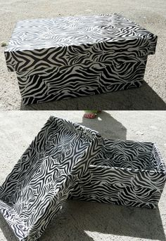 Zebra duct tape covered cardboard box. seriously, you can decorate ANYTHING with duct tape!! i have tons of ideas!!