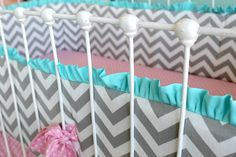 Candy Chevron Custom Ruffle cribset by LottieDaBaby on Etsy, $425.00...I want someone I love to have this crib set, it is FABULOUS!