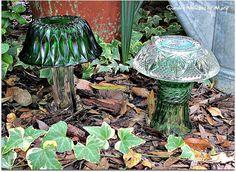 Green Glass Mushroom Garden Whimsies Pair  by GardenWhimsiesByMary