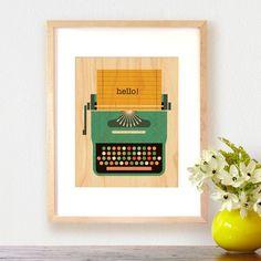 Greeting Typewriter - Art Print on Wood | dotandbo.com