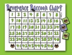 CTR REVERENCE CHART: Primary CTR-A, Reverence Raccoon Reverence Chart, Primary Lesson Helps, Primary 2 manual, family home evening, Sunday S...