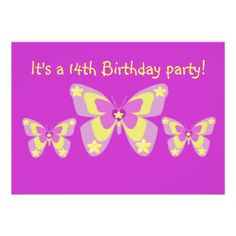 14th birthday party invitation butterflies more birthday party