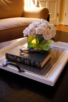 DIY::Take a large picture frame, put scrapbooking paper or fabric under the glass and add drawer pulls to each end. Makes a beautiful tray!