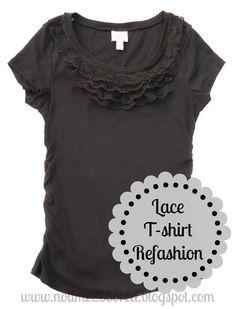 diy fashion, tshirt refashion, decorating ideas, old shirts, diy gifts, ruffl tshirt, easi lace, t shirts, lace ruffl