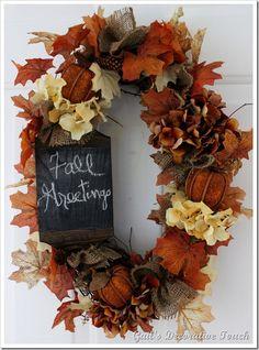 Wreath - I love the little chalkboard
