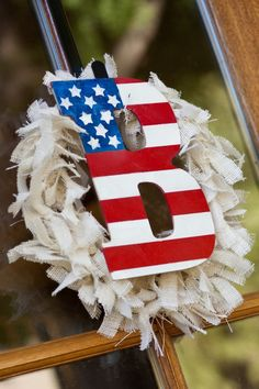 Red, white and blue wreath with initial - #4thofjuly