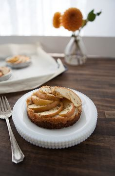 Vegan Apple Tart with a rolled oat crust and vegan Frangipane. #baking #recipe