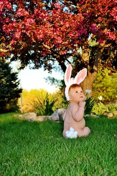 1st Easter picture idea  So stinkin' cute...no pun intended!!  @Jenn L Robinson @Karissa Scott Clausen @Brooke Williams Hayes and @Tamara Walker Williamson, I know Lena won't be sitting up by then, but knew you would appreciate the cuteness.