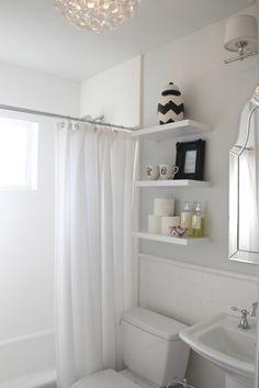Floating shelves in the bathroom