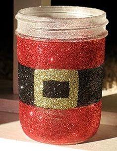 Santa out of a mason jar