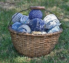 Antique BASKET with FABRIC BALLS (item #1256786)