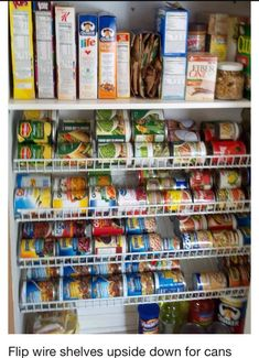 Flip Wires Shelves Upside Down For Cans Goods!! idea, pantri, hang wire, organ, flip wire, shelv upsid, angl, kitchen, wire shelv