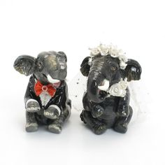 Elephant Lover Wedding Cake Toppers 00001 Clay Sculpted Figurine Handmade Art