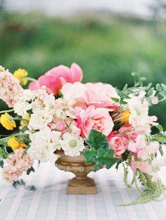 Wedding Centerpiece by CoriCook.com On http://www.StyleMePretty.com/2014/04/09/romantic-garden-party-style-wedding/ Photography:  BrumleyAndWells.com -- #smp