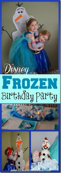 Disney Frozen Birthday Party for Kids - ideas for decorations, Olaf game, Anna & Elsa cakes, Olaf lunch, and more!