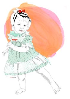 illustration by Cécile Valletoux @ labeletterose - Visit MomistaBeginnings to enter in a giveaway to win your own portrait! I LOVE their beautiful portraits!!!