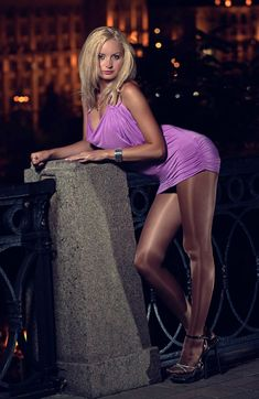 Sheer Shimmer Pantyhose Lilac Dress and Black Ankle Strap High Heels