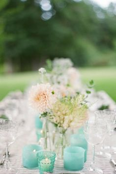 Aquamarine table decor