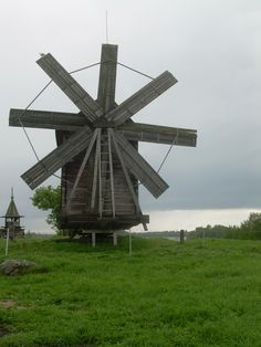 Kizhi Island, Karelia(northern Russia),  The island is a state park featuring ancient wooden structures such as this windmill. Some windmills were on wheels and could be moved where needed.