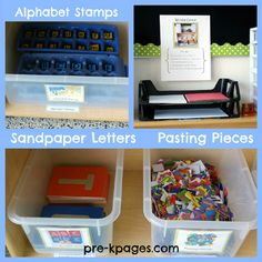 More materials for the writing center in preschool or kindergarten via www.pre-kpages.com