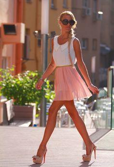 skirt, woman fashion, fashion ideas, fashion styles, dress, peter pan collars, heel, outfit, shoe