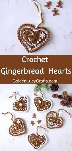 Crochet Gingerbread Heart ornaments - free crochet pattern, gingerbread decorations, holiday crochet, DIY Christmas ornament, #gingerbreadheart, #christmasornament, #crochetchristmasornament, #christmasdecorations