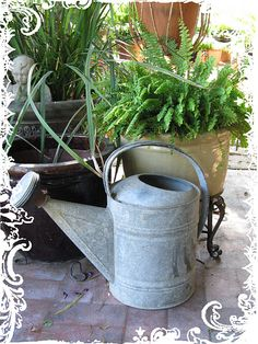 Garden watering can!!! Bebe'!!! Vintage tin watering can!!!