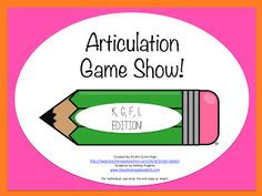 [simply speech.]: Articulation Game Show!Pinned by SOS Inc. Resources http://pinterest.com/sostherapy.