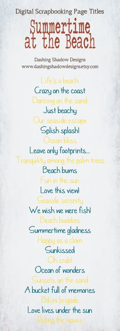 Scrapbook Page Title Ideas - Summertime at the Beach