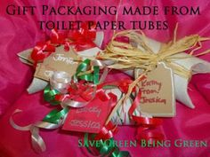 Thrifty Thursday: Gift Packaging from Toilet Paper Tubes #recycling #repurposing #trashtotreasure Christmas Gift Wrapping on the cheap