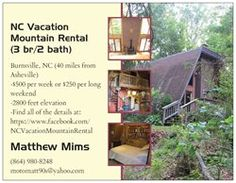"""Check out my dad's awesome NC Mountain rental home if you're looking for a fun and affordable vaca!  """"Like"""" our Facebook for more detials page : )  https://www.facebook.com/NCVacationMountainRental"""