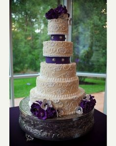 Wedding Cake #Purple Wedding ... Wedding ideas for brides & bridesmaids, grooms & groomsmen, parents & planners ... https://itunes.apple.com/us/app/the-gold-wedding-planner/id498112599?ls=1=8 … plus how to organise an entire wedding, without overspending ♥ The Gold Wedding Planner iPhone App ♥