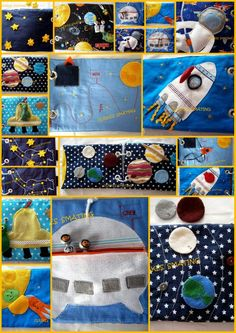 Great fabric book space, astronauts, rocket / handmade Quiet Book / busy book. €60.00, via Etsy.