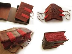 Soft cover leather journal in brown  red leather in clamshell presentation box