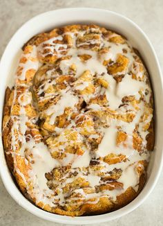 Cinnamon Roll Bread Pudding Breakfast Bake | browneyedbaker.com #recipe