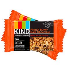 Perfect pre-workout snacks: Kind Healthy Grains Peanut Butter Dark Chocolate Bars - the dark chocolate could help boost endurance!