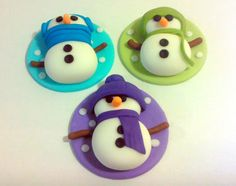 Snowmen, Edible Fondant Cupcake Toppers for Christmas or Holiday