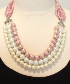 Pink statement necklace pearl & lace necklace bib necklace pale pink bow necklace bridal necklace elegant necklace-Peony Pearls Necklace on Etsy, $90.00