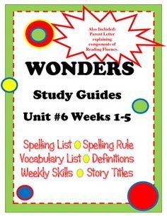 Wonders McGraw Hill Study Guides Unit #6 Grade 2 FREEBIE!