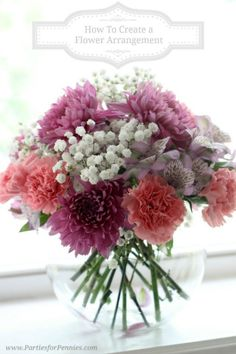 How to Create a Flower Arrangement by PartiesforPennies.com Follow this easy formula to create no-fail flower arrangements! #Flowerarrangements #centerpieces #tutorial #howto #purpleandpinkcenterpieces