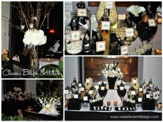Classic Black White and Champage Candy and Dessert Bar Buffet www.sweeteventdesign.com @sweeteventdesign.    #wedding #blackandwhite #dessertbar
