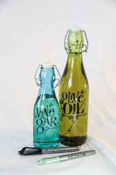 Dress up your oil and vinegar bottles using a fun font and our Infinity Permanent Markers.