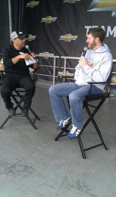 Dale Earnhardt Jr., driver of the No. 88 Diet Mountain Dew/National Guard Chevrolet, visits with fans at the Team Chevy stage on Feb. 26 at Daytona International Speedway.
